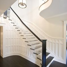 Curved Stairs with Newel Post - Clawson Architects Projects - traditional - staircase - new york - Clawson Architects, LLC
