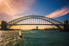 Sydney Harbour Bridge.  #Sydney #SydneyHarbour #sydneyharbourbridge #water #boat #beautiful #sky #Clouds #sunset #colors #purple #bridge #architecture #structure #Travel #traveling #Wanderlust #ShotWithCanon #KitLens #1855mm #dslr #Amateur by justin_bernal_photography http://ift.tt/1NRMbNv