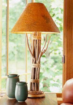 Lampara de ramas cortasy cordon estilo cabaña rustico