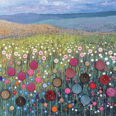 Button Meadow Square Blank Greeting Card by Artist Jo Grundy Thumbnail 1