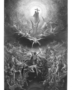 Gustave Dore, Catholic Art, Religious Art, Dark Fantasy Art, Dark Art, Christus Tattoo, Rennaissance Art, Heaven Tattoos, Heaven Art