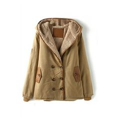 Double-breasted Panel Faux Leather Hooded Khaki Coat | Pariscoming  #pariscoming your personal style online store. #outfit #xmasfashion #party #streetstyle #fashionblog #fashiondiaries #fashiondiary #WearIt #WhatYouWear ✿ ❀ like it? buy now ❀ ✿