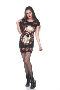 Jawbreaker Gothic Mini Dress, Judy Bloom Dress Gothic Skull and Roses T-shirt Dress Alternative Clothing Brand, Alternative Fashion, Tee Dress, Bodycon Dress, Rock And Roll, Dress Shirts For Women, Clothes For Women, Gothic Shop, Uk Fashion