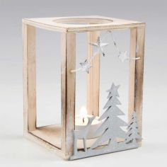 set 2 portavelas madera