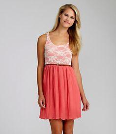 Moa Moa Crochet Pleated Dress | Dillard's