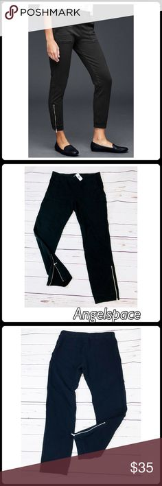 NWT. Gap skinny zip joggers in jet black. Size L. NWT. Gap skinny zip joggers in jet black. Size L.  Please see the last photos for actual measurements GAP Pants Track Pants & Joggers