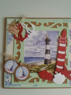 Scrapbook Cards, Scrapbooking, Nautical Cards, Beach Cards, Sea Theme, Marianne Design, Graphic 45, Masculine Cards, Beach Themes