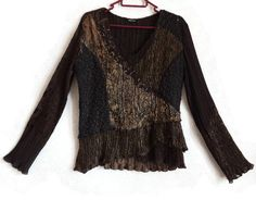 Brown Formal Top Crinkled Top Brown Patchwork Glossy Top Women's Clothing Long Sleeves V Neck Top Brown Women's Clothing Vintage Top by Vintageby2sisters on Etsy
