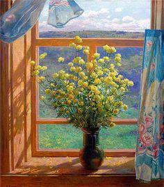 spring window art by Vladimir Korkodym Window View, Open Window, Window Art, Jazz Cat, Flowers Gif, Through The Window, Gif Animé, Mellow Yellow, Life Is Beautiful