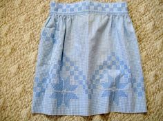 Vintage Blue Gingham Apron Half Apron with by VintagePlusCrafts, $8.00