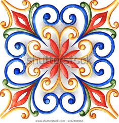 Illustrazione stock 1352508563 a tema Watercolor Majolica Ornament Mandala Art, Tile Patterns, Pattern Art, Embroidery Patterns, Patchwork Tiles, Hand Art, Barn Quilts, Pottery Painting, Mason Jar Crafts