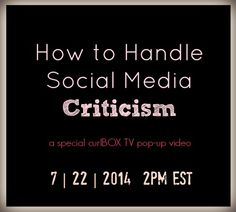 Now LIVE on curlBOX TV!   We've got tips from Huetiful creator, Ken Burkeen, on how to handle social media criticism. Check it out!  http://blog.curlbox.com/2014/07/22/curlbox-tv-pop-up-how-to-deal-with-social-media-criticism/