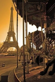 Carousel-this carousel is called the Eiffel Tower Carousel because of its proximity to the tower. Carousels were my favorite fair ride when I was little. Simply must ride this a couple times. Carousel riding Parisian style!!