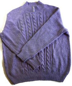 Women's Plus Size 0X NEW Purple Karen Scott Cable Knit Sweater Top Pearls $36.50 #KarenScott #Sweater #Casual