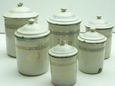 French Enamel Kitchen Canisters Set Of 6 In White By Lemoulinbleu 95 00