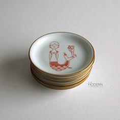 6 Bing and Grondahl Denmark Antoni Design Hanging Pin Dishes on Etsy, $28.00