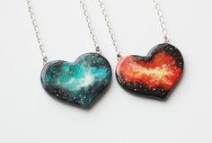 Cosmic heart pendant Handpainted necklace Galaxy by MagicTwirl