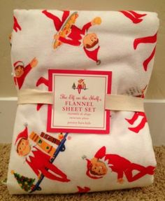 Pottery Barn Kids Elf on The Shelf Twin Sheet Set New Flannel Christmas | eBay