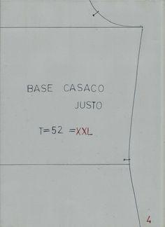 MOLDE BASE CASACO SENHORA T - 52=XXL - Moldes Moda por Medida
