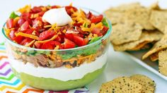 LAYERED BLT DIP: 1 c guacamole 3/4 c Yoplait® Greek 100 plain yogurt 1/2 c mayo 2 T ranch dressing 3 oz cream cheese, softened 2/3 c bacon, crumbled 3/4 c sharp cheddar, shredded 1/2 c lettuce,  small pieces 2/3 c tomatoes, diced Food Should Taste Good™ chips Spread guacamole in bottom of serving dish. Stir yogurt, mayo, dressing, and cr cheese til well blended and layer on top of the guacamole. Layer on bacon, cheese, lettuce and tomatoes on top.
