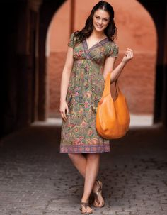 Ethnic Embellished trim Dress in Khaki Print £55.00  Available in sizes 8-18 Curvy, Really Curvy and Super Curvy.