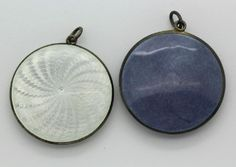 Lot: (2) Antique Guilloche Sterling Silver Compact Pendants, Lot Number: 0337, Starting Bid: $50, Auctioneer: Hill Auction Gallery, Auction: Spring Into Auction 2017, Date: March 27th, 2017 MDT