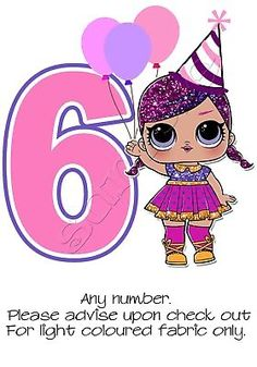 Picture 4 of 4 Birthday Yard Signs, Birthday Numbers, 6th Birthday Parties, Doll Birthday Cake, Embroidered Name Patches, Lol Doll Cake, Cute Kawaii Girl, Iron On Letters, Skate Party