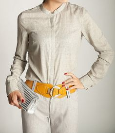 Vintage round collar linen blouse long sleeve women by Nextchoice, $65.00