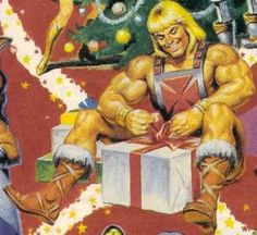 Detail from Vintage He-Man Christmas Gift Wrap