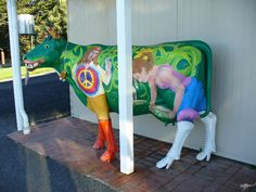 Colorful cow welcomes visitors to the Ashgrove gourmet cheese shop near Devenport, Tasmania