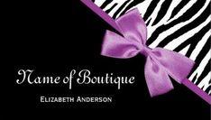 Chic Boutique Black and White Zebra Purple Ribbon Business Cards - $21.95