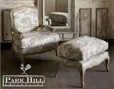 The Pastoral Toile Lounge Chair and Ottoman. #chair #ottoman