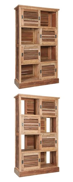"""Everything about this Coffeyville Louvered Cabinet screams """"authentic farmhouse"""". From the fabulous reclaimed wood to its charming louvered door fronts, it's a purposeful piece that works in a variety ...  Find the Coffeyville Louvered Cabinet, as seen in the The Bohemian California Beach Lodge Collection at http://dotandbo.com/collections/the-bohemian-california-beach-lodge?utm_source=pinterest&utm_medium=organic&db_sku=115660"""