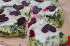 Valentine's Day Pizza with Beets & Kale Pesto