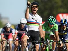 TdF stage 20. Cav had a super lead out from Wiggo and EBH, jumping to the front just on the corner of Champs Élysées, but holding on for a fabulous 4th final stage win in as many years. He's never lost a sprint on the Champs Élysées, and had the best possible lead out team. Now just need to see a similar result in London next Saturday!