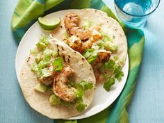 Chipotle Shrimp Taco with Avocado Salsa Verde recipe via Food Network Kitchen