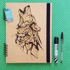 wolf notebook, wold journal, wolfs, Sketchbook, Writing journal, spiral…