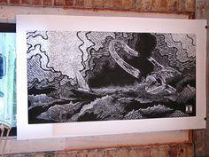 Ian's woodcut hanging