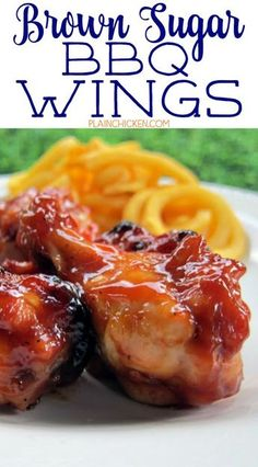 Brown Sugar BBQ Wings - chicken wings tossed in a quick homemade BBQ sauce and baked. Chicken Wing Sauces, Cooking Chicken Wings, Bbq Wings, Baked Chicken Wings, Baked Chicken Recipes, Chicken Breasts, Chicken Dips, Chicken Nuggets, Chicken Drumettes Recipe