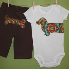 Wiener dog baby onepiece bodysuit and pant set by oliverbludesigns, $32.00, Etsy.