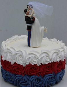 USMC Marine Corps Wedding Cake Topper HUG pose Bride uniform Kiss