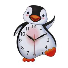 Home Decoration Children's Bedroom or Nursery MDF Penguin Shaped Wall Clock