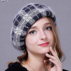 British style plaid  French beret hat for women wool hats