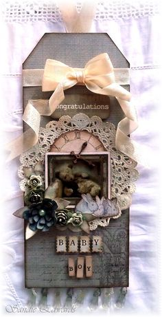 """Baby Boy Tag, created for The Scrapbook Store, using a range of papers from Fab Scraps, """"Baby Bear"""" collection."""