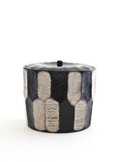 Black Lacquer Ridged Water Jar with Silver Nuriwake Finish- MATSUZAKI