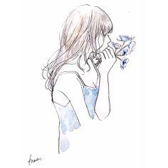 "kaarii0119: ""香り . #art #artwork #illustration #watercolor #girl #drawing #flower #blue #イラスト #水彩 #カーリィ """
