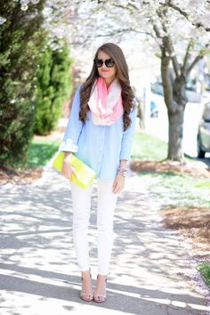 White skinnies, chambray with pops of neon