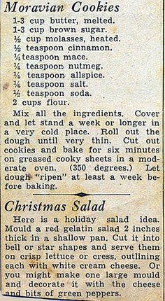 Grandma's Recipes, Fun Baking Recipes, Recipe Sites, Sweets Recipes, Appetizer Recipes, Cookie Recipes, Appetizers, Recipe Clipper, Moravian Cookies
