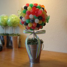 Edible GUM DROP Candy Bouquet - Gumdrop Topiary - Birthday Mitzvah Wedding Party Decor by CharmiosCraftParty on Etsy https://www.etsy.com/listing/102206281/edible-gum-drop-candy-bouquet-gumdrop