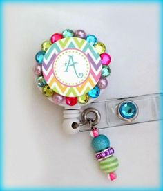 Multi colored  chevron custom ID badge reel holder | ReelFabulous - Accessories on ArtFire
